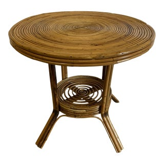 Pencil Reed Burnt Bamboo Accent Table For Sale