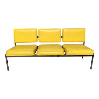 Retro Canary Yellow Couch Sofa Bench Office Vintage Mid Century For Sale