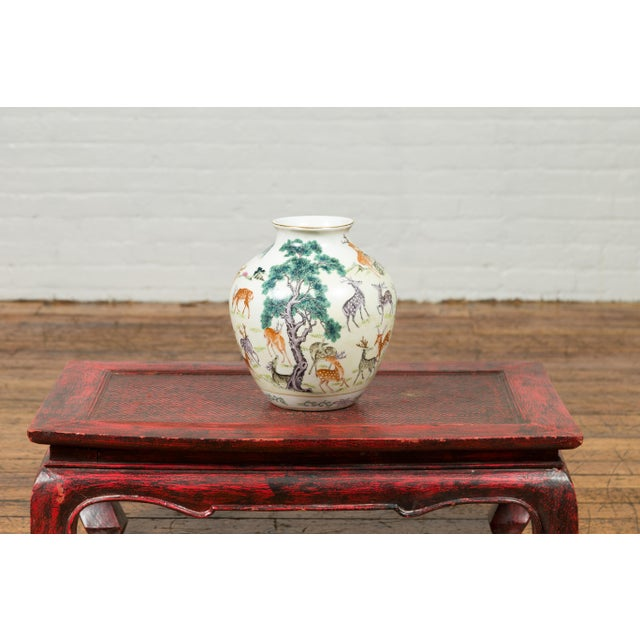 1920s Chinese Porcelain Vase with Gilt Accents, Deer and Mountain Motifs For Sale In New York - Image 6 of 13
