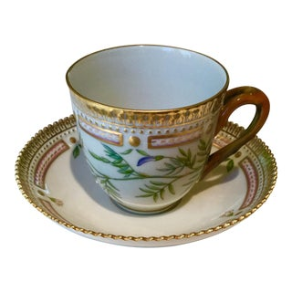 "Royal Copenhagen by ""Astragalus Arenarius L"" Flora Danica Cup and Saucer Set For Sale"
