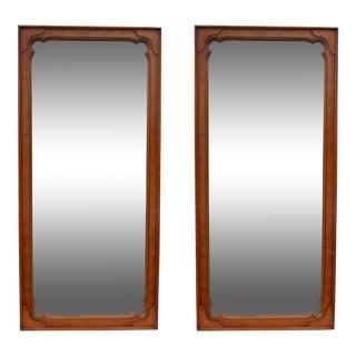 Henredon Mid-Century Walnut & Burlwood Mirrors- A Pair