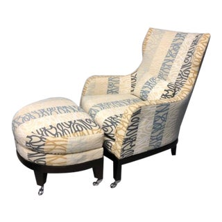 Brunschwig & Fils Highback Wing Chair & Ottoman Upholstered in Bergamo a Rubelli Textiles For Sale