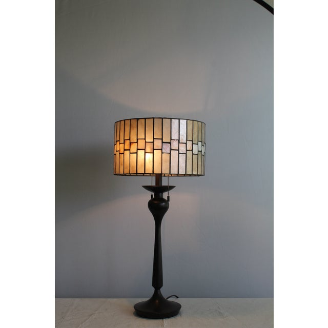Metal Mid Century Enameled Bronze Base With Geometric Art Deco Mica Shade For Sale - Image 7 of 8