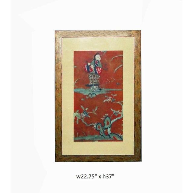 Vintage Chinese Hand Embroidery Framed Wall Decor For Sale - Image 5 of 6
