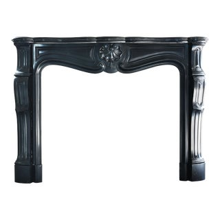 19th Century, Antique Black Marble Fireplace 'Noir De Mazy', Louis XV