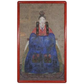 Vintage Mid-Century Korean Hand-Painted Gouache Wedding Portrait Painting For Sale