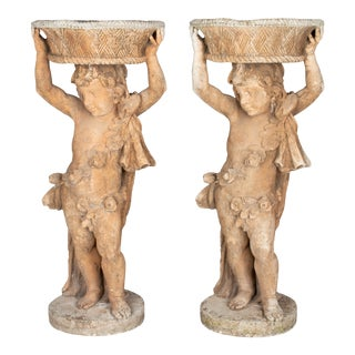 French Garden Statue Planters - a Pair For Sale