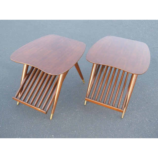 Danish Modern Magazine Rack Side Tables - A Pair - Image 7 of 11