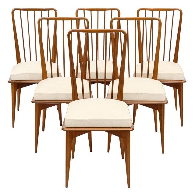 . Mid Century Danish Modern Cherry Wood Dining Chairs   Set of 6