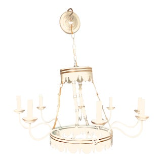 Lamplight Designs 8 Arm Large Colonial White & Gold Chandelier For Sale