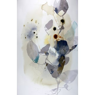 "Ana Zanic ""Dark Bloom W-2019-1-11"" Abstract Watercolor Painting on Paper For Sale"