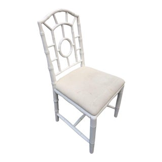 White Wooden Faux Bamboo Chair