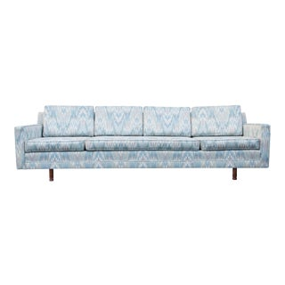 Mid Century Long Blue and White Flame Stitch Sofa For Sale