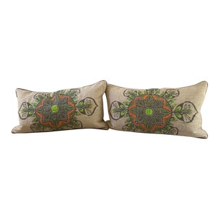 Embroidered Pillows With Solid Back - a Pair For Sale