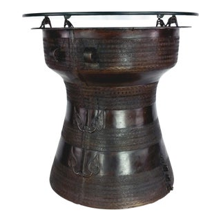 1980s Asian Antique Reproduction Bronze Rain Drum Side Table For Sale