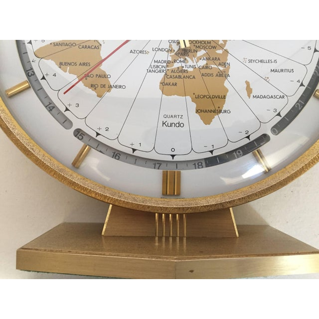 Large Kieninger & Obergfell modernist table world timer zone clock, 1960s Unique brass round world clock by Kundo...