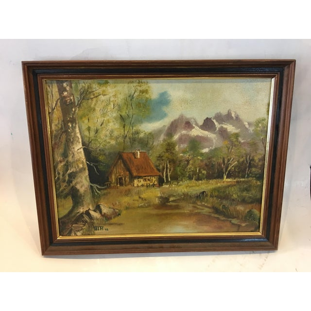 Wood 1972 Hudson Valley Mountain Cabin Oil Painting For Sale - Image 7 of 7
