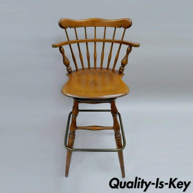 Ethan Allen Heirloom Nutmeg Maple Birch Wood Swivel Bar Stool Chair 10 6095 C
