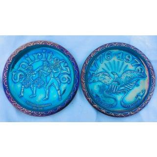Bicentennial Blue Carnival Glass Plates Preview