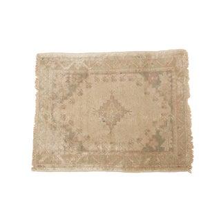 "Vintage Distressed Oushak Square Rug - 2'11"" x 3'8"" For Sale"