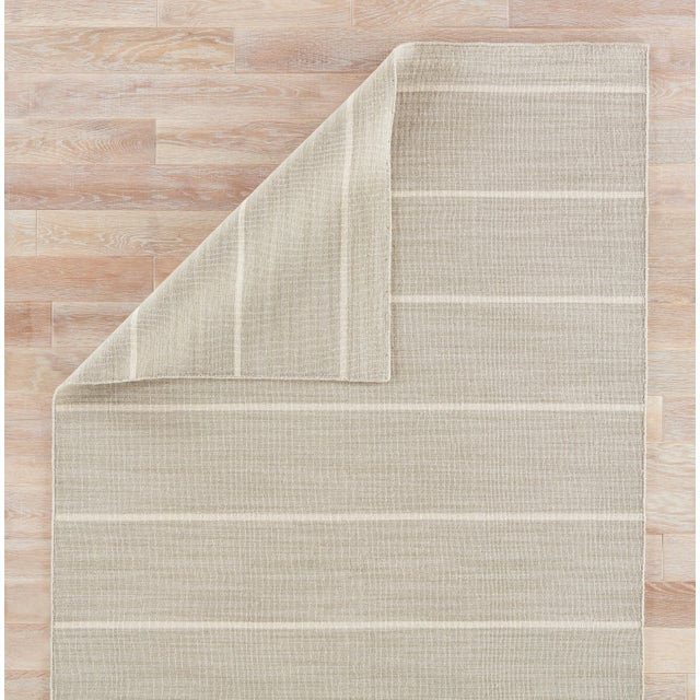 Jaipur Living Cape Cod Handmade Stripe Gray/ White Area Rug - 8′ × 10′ For Sale - Image 4 of 6
