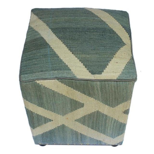 Asian Arshs Daniel Gray/Ivory Kilim Upholstered Handmade Ottoman For Sale - Image 3 of 8
