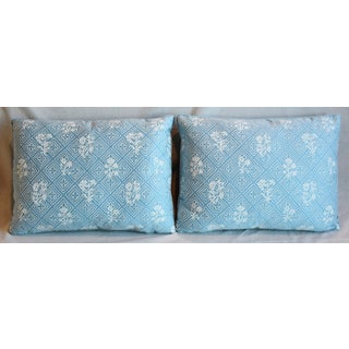 """Blue & White Italian Mariano Fortuny Feather/Down Pillows 22"""" X 16"""" - Pair Preview"""