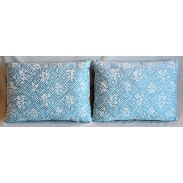 """Pair of custom-tailored reversible pillows in unused Italian Mariano Fortuny cotton fabric called """"Jupon Bouquet""""..."""