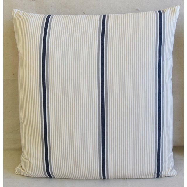 """Abstract French Blue/Gray/Tan/White Striped Ticking Feather/Down Pillows 23"""" Square - Pair For Sale - Image 3 of 12"""