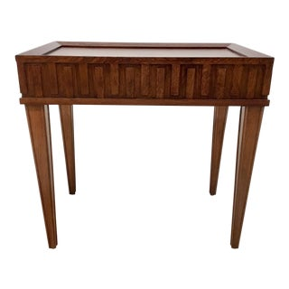 Transitional Global Views French Key Mahogany Finished Side Table For Sale