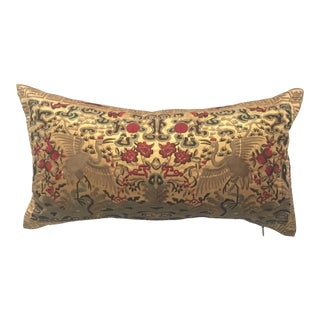 Hollywood Regency Gold & Khaki Silk Embroidered Chinoiserie Boudoir Lumbar Pillow For Sale