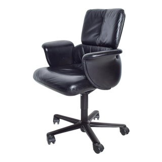 Vintage Modern Geoff Hollington for Herman Miller, Executive Black Leather Office Chair For Sale