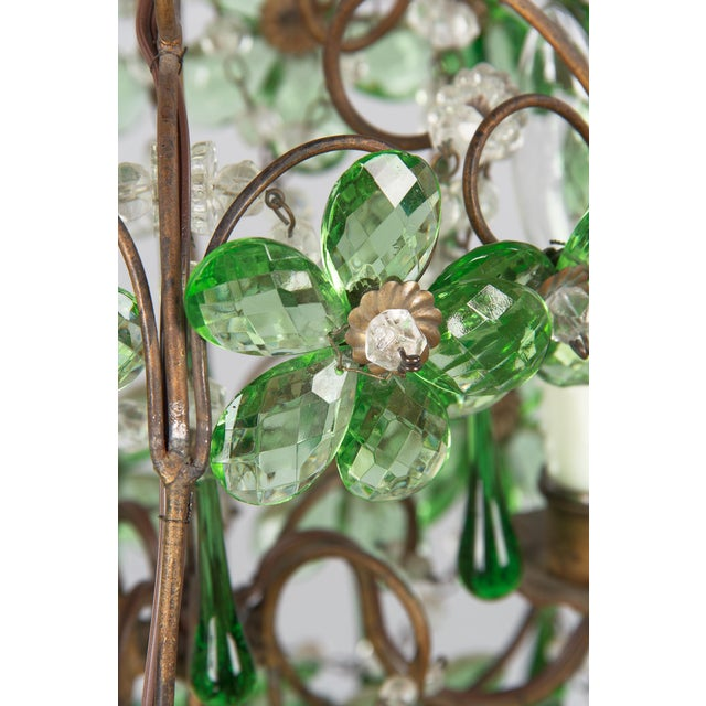 Metal 1920s French Green Glass and Crystal Chandelier For Sale - Image 7 of 13