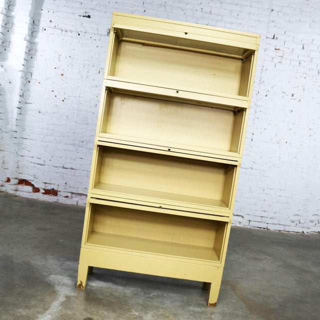 Industrial Barrister Stacking Bookcase Globe Wernicke Distressed Yellow Painted Wood For Sale - Image 6 of 13
