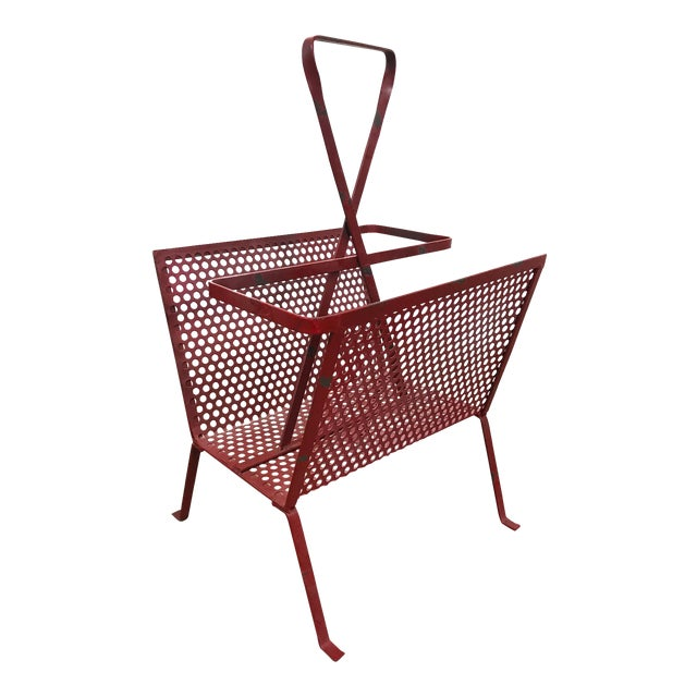 1950's Mathieu Mategot Attributed Red Metal Magazine Holder For Sale - Image 12 of 12