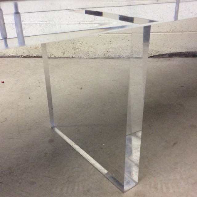 1990s Monumental Leather Tufted Lucite Bench For Sale - Image 5 of 11