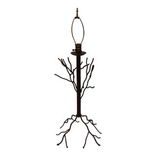 Vintage Faux Bois Iron Tree Branch Table Lamp For Sale