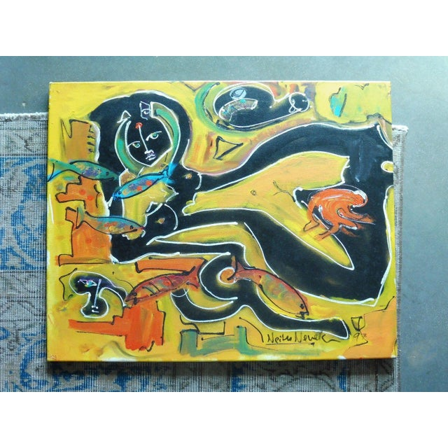 Nude w/ fish painting by Neith Nevelson grand daughter to Louise Nevelson measuring 24 inches long x 19 inches high. This...