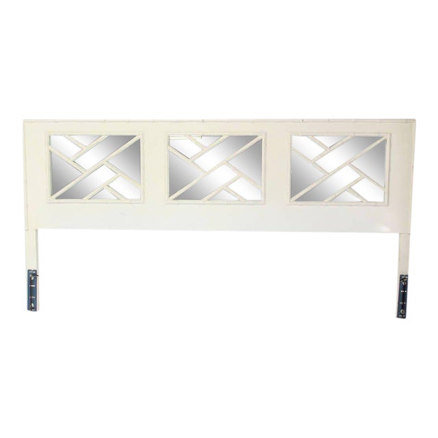 Faux Bamboo Mid Century Modern White Lacquer King Size Headboard For Sale