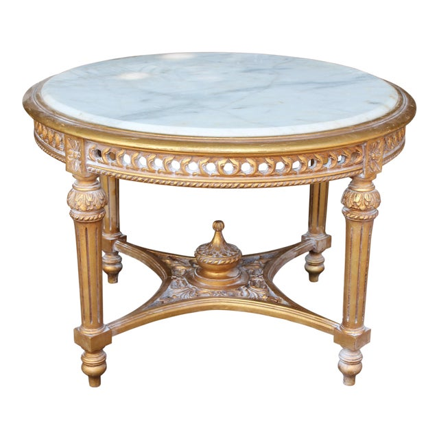 20th Century Louis XVI Accent Table With Marble Top For Sale