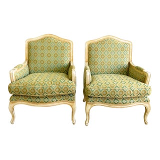Pair Vintage French Style Berger Club Chairs From the Joan Rivers Connecticut Estate