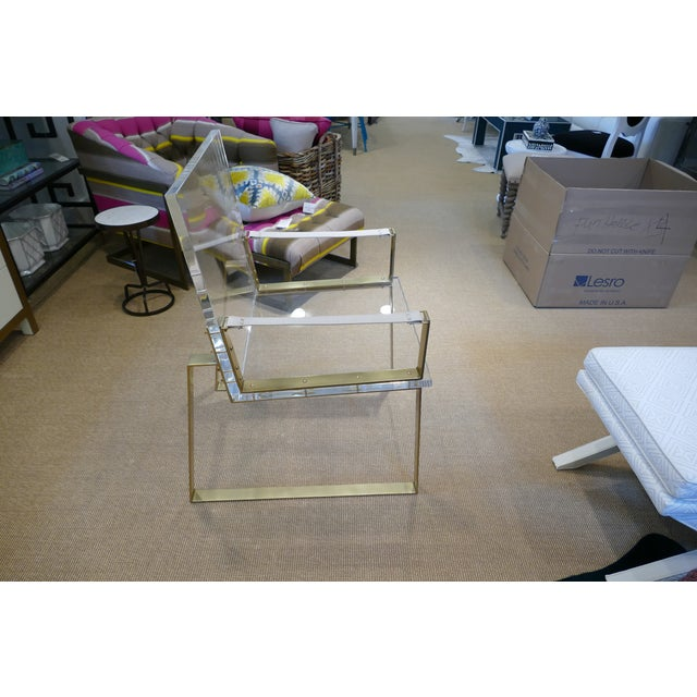 Abstract Century Lucite & Brass Halo Chair For Sale - Image 3 of 12