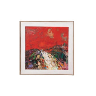Eleanor Coen Expressionist Red Landscape With Cyclists Painting For Sale
