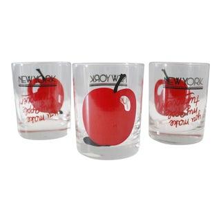 3 Vintage Doug Wilson New York Lowball Glasses Big Apple Red