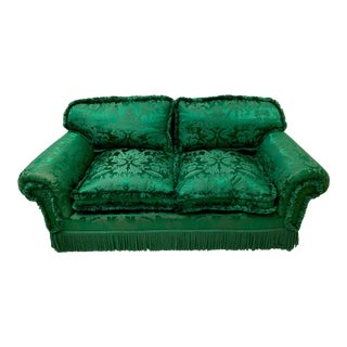Green Silk Chinoiserie Settee /Sofa For Sale