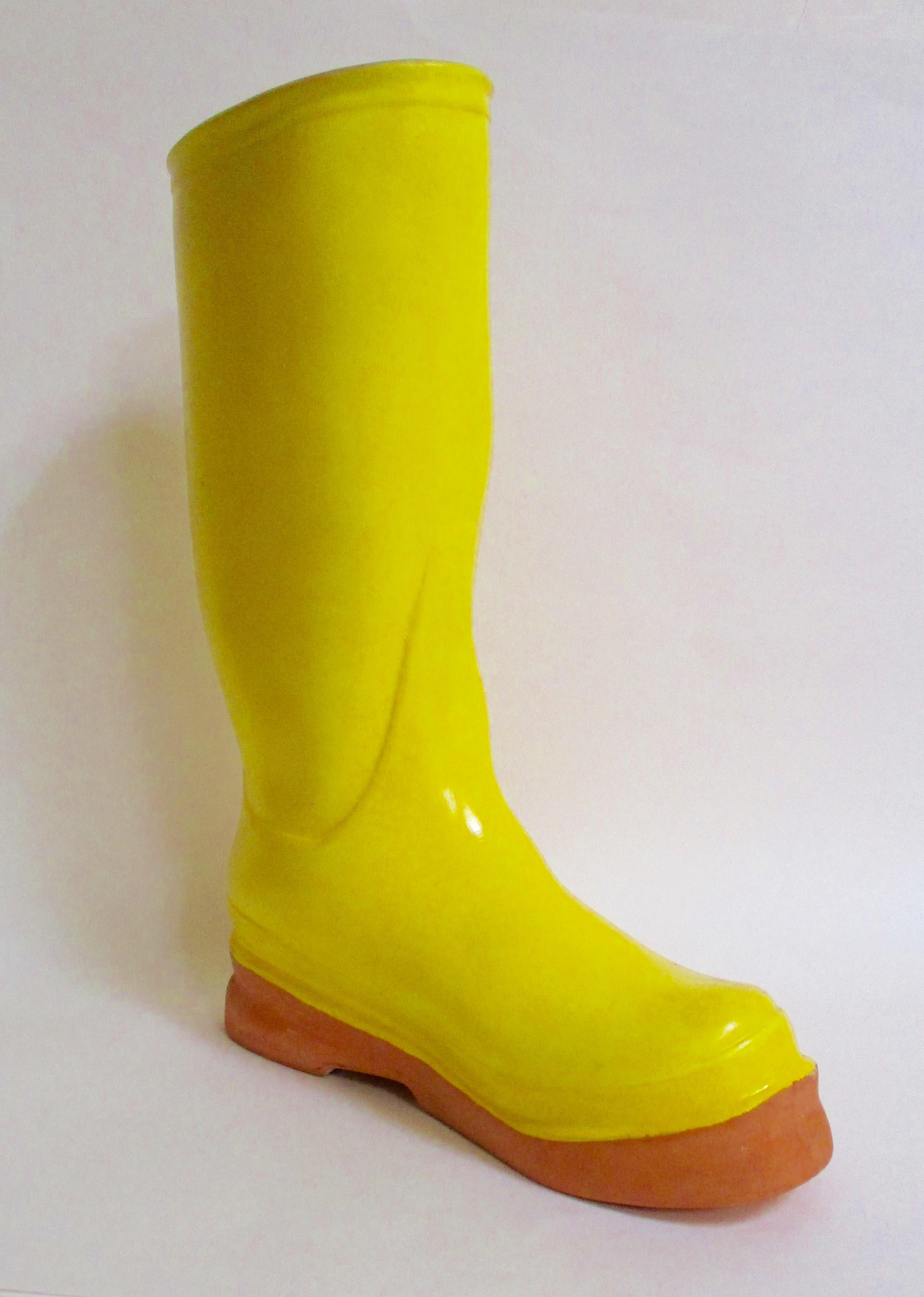 Boho Chic Yellow Ceramic Garden Boot Planter Vase Chairish