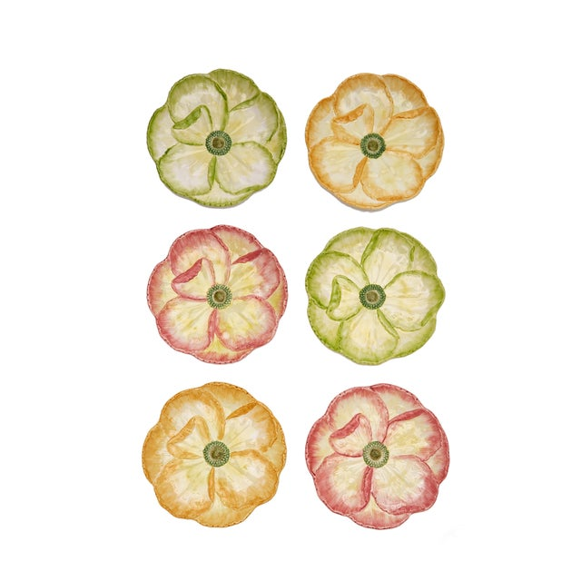 Green Moda Domus x Chairish Exclusive Dessert Plates in Green, Yellow, and Pink - Set of 6 For Sale - Image 8 of 10