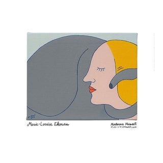 """Contemporary Scandinavian Marie-Louise Ekman 2017 Museum Poster """"Lady and Elephant Street Ii"""" For Sale"""