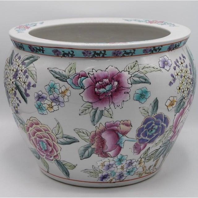 Large Antique Chinese Porcelain Lotus Flower Koi Fish Bowl Garden Planter For Sale - Image 4 of 10