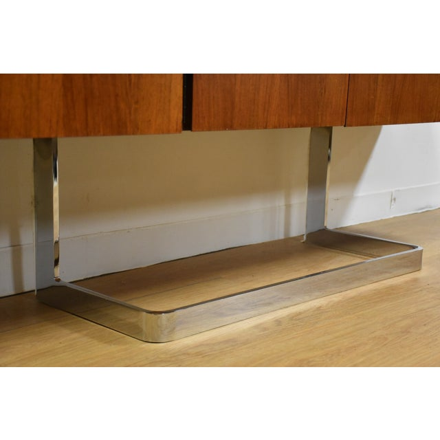 Chrome Ste-Marie Rosewood & Chrome Credenza For Sale - Image 7 of 11